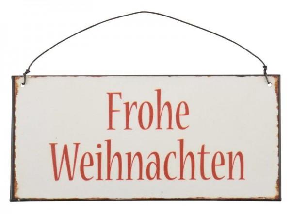 """Metall Schild """"Frohe Weihnachten"""" mit Drahtaufhänger"""