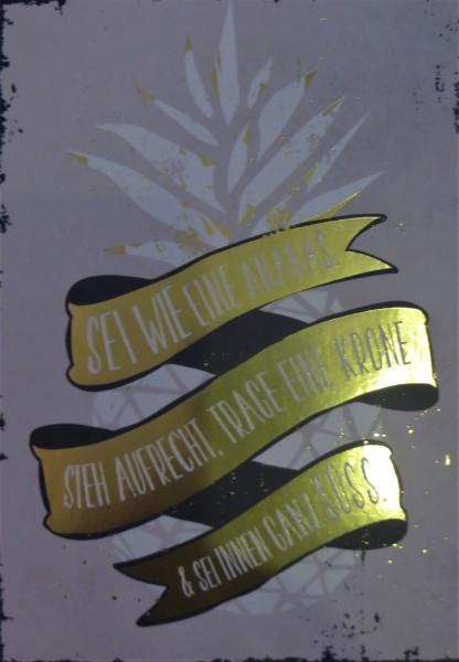"""Postkarte """"Sei wie eine Ananas. Steh aufrecht, trage eine Krone & sei immer ganz süss."""" VintageArt"""