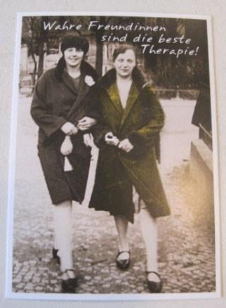 """Postkarte Karte """"Wahre Freundinnen sind die beste Therapie!"""" Paloma"""