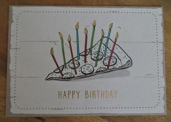 "Postkarte ""HAPPY BIRTHDAY"" (Pizza) KUNST und BILD"