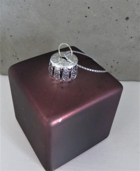 Christbaumschmuck in Form eines Geschenks, quadratisch, malve, 5 cm