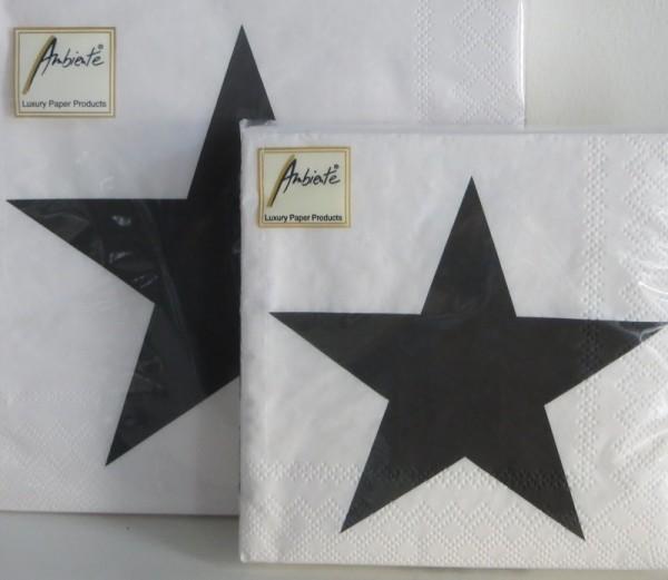 Servietten weiß mit Stern 25 x 25 cm