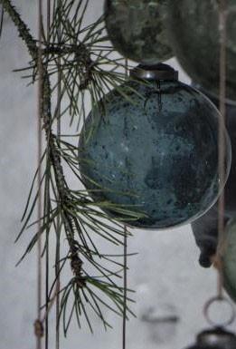 Weihnachtskugel pebbled glass petrol 8 cm - Serie Stillenat - Ib Laursen ApS