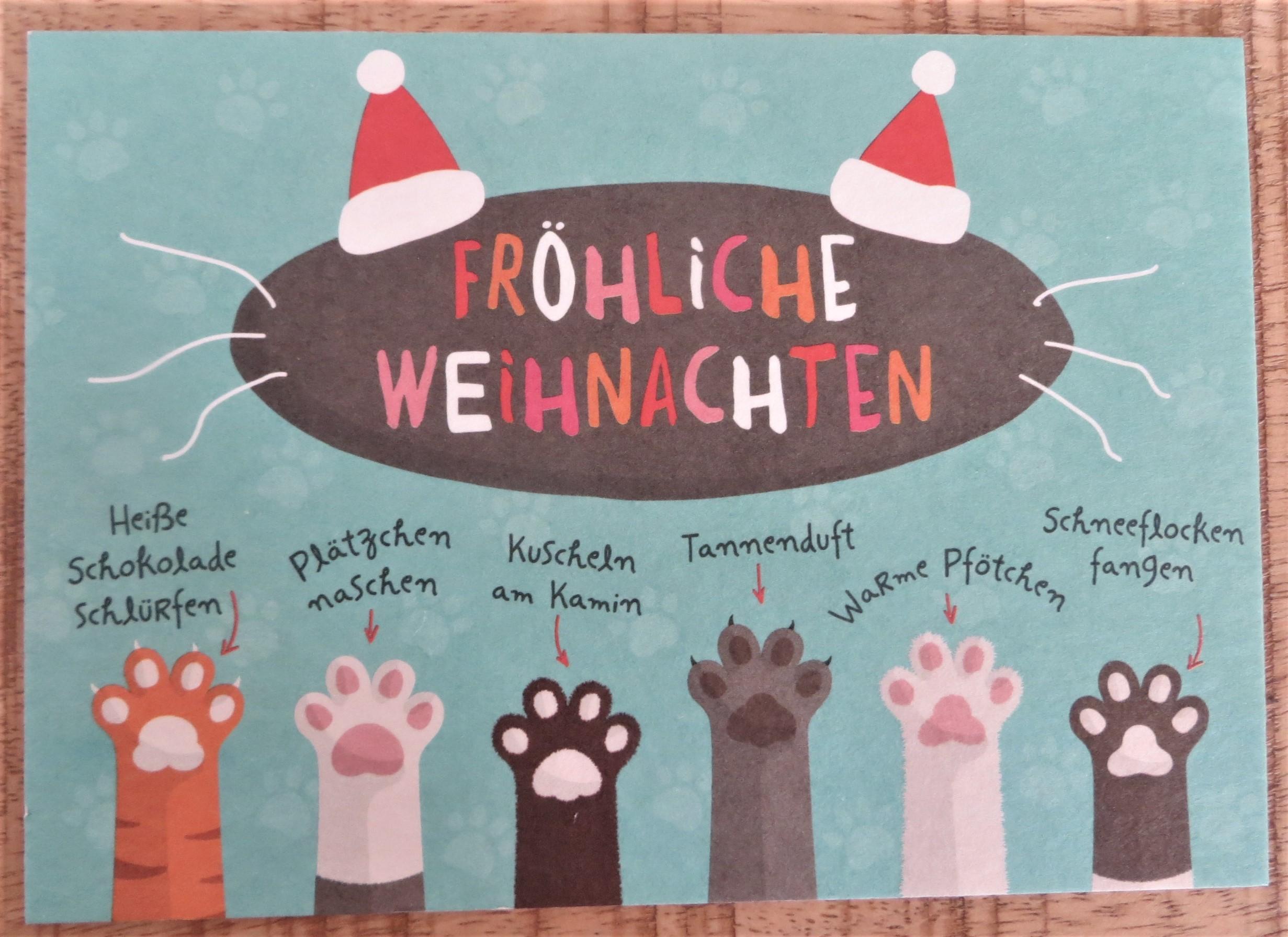 Nützlichgrusskarten - Postkarte Tierpfoten Fröhliche Weihnachten - Onlineshop Tante Emmer