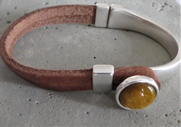 QOSS Armband GWEN braun-ockergelb XL