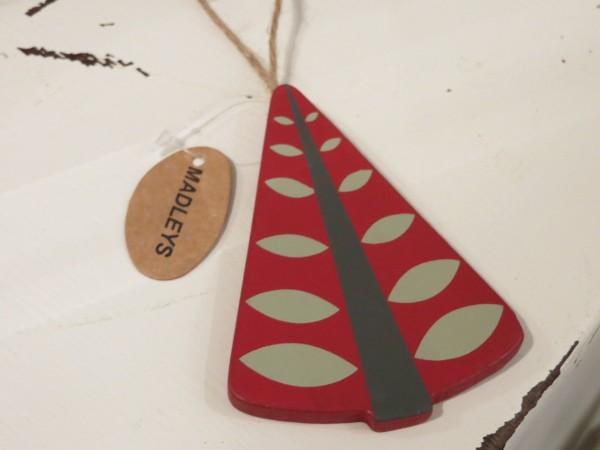 roter Weihnachtsbaum mit Stamm u. Blätter Anhänger Aufhänger Christbaum Tannenbaum MADLEYS