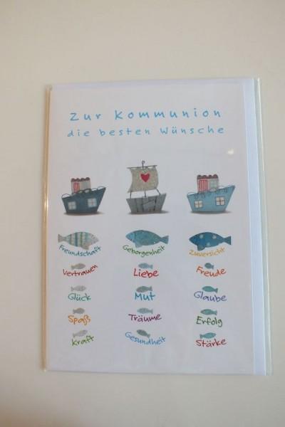 """Klappkarte """"Zur Kommunion die besten Wünsche"""" Gutschverlag"""