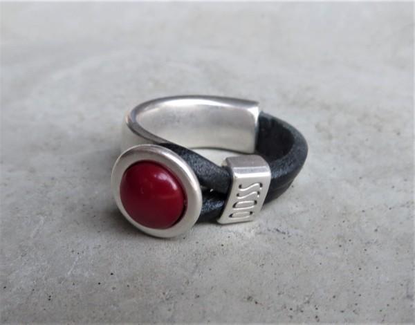 QOSS Fingerring GWEN schwarz-rot XL