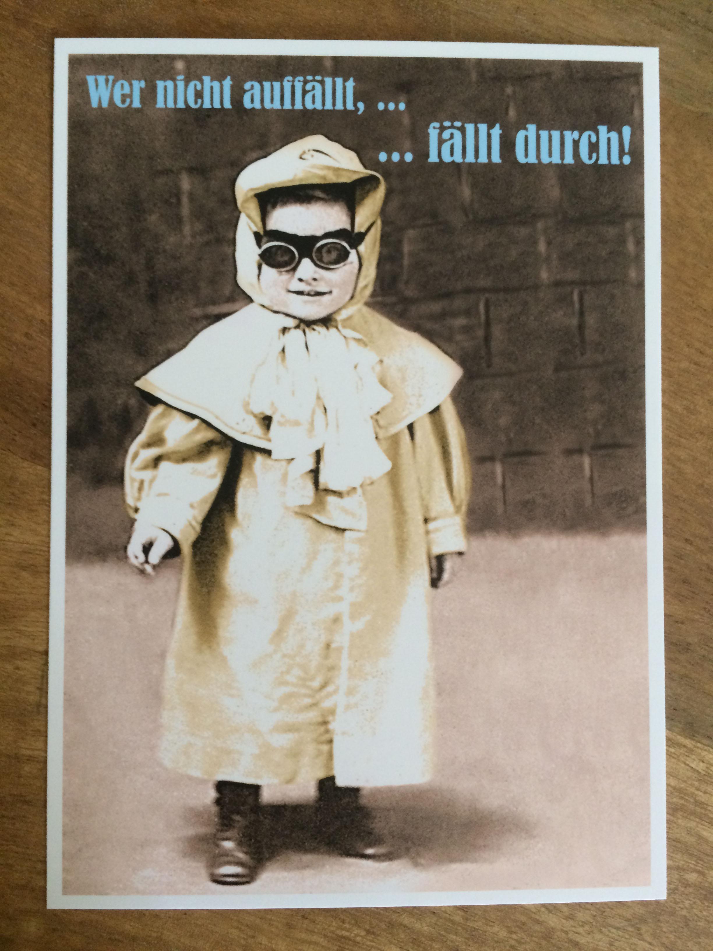 Postkarte Karte Wer nicht auffällt ... .... fällt durch Paloma