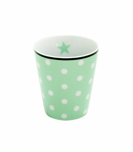 Mug Kaffeebecher in mint mit weißen Punkten