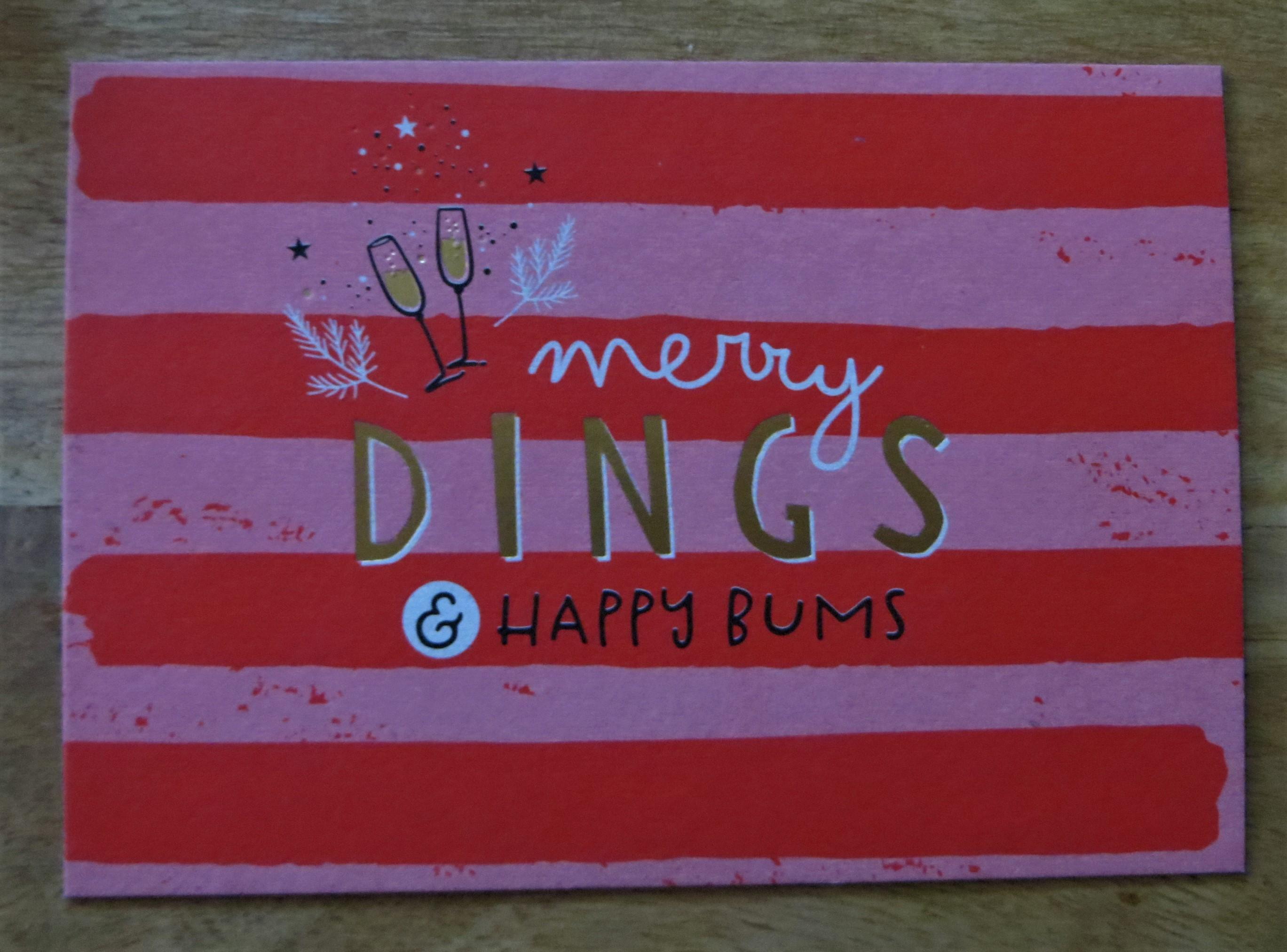 Nützlichgrusskarten - Postkarte merry DINGS und happy BUMS - Onlineshop Tante Emmer