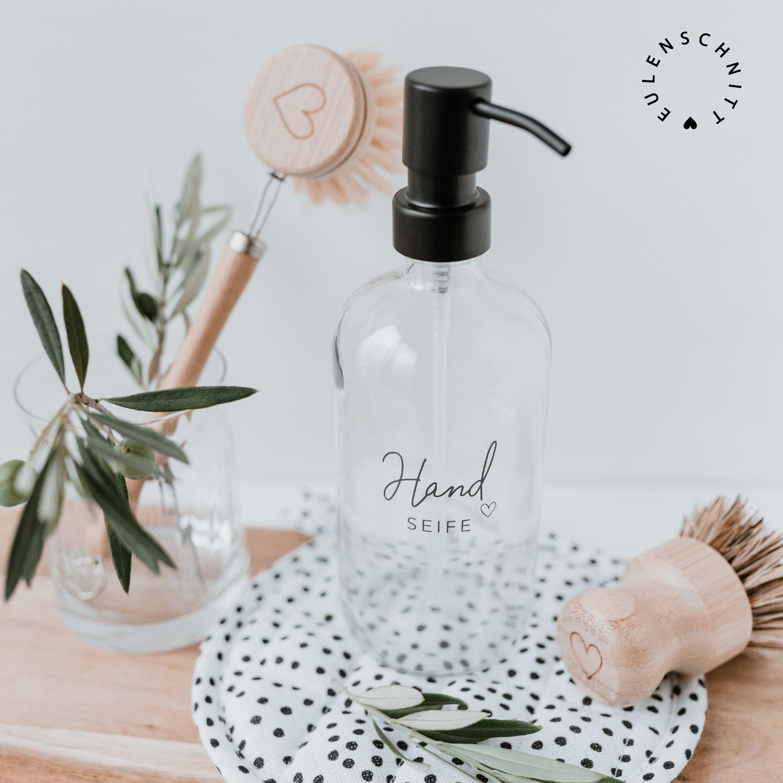 Nützlichwellness - Glasflasche Pump Spender HandSEIFE 500ml transparent Eulenschnitt - Onlineshop Tante Emmer