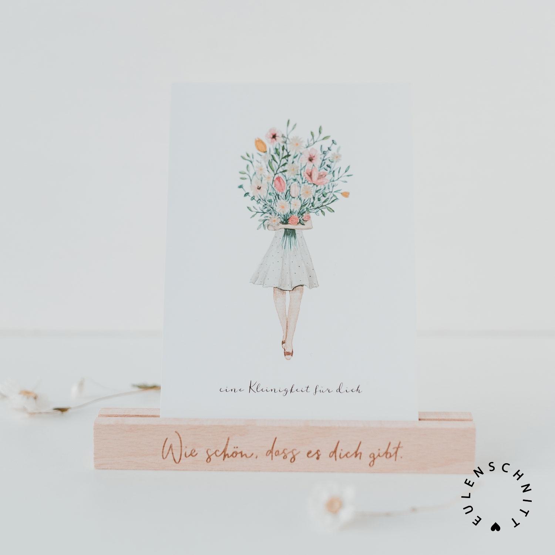 Nützlichwohnaccessoires - Kartenständer aus Holz Wie schön dass es dich gibt Natur 2er Set Eulenschnitt - Onlineshop Tante Emmer