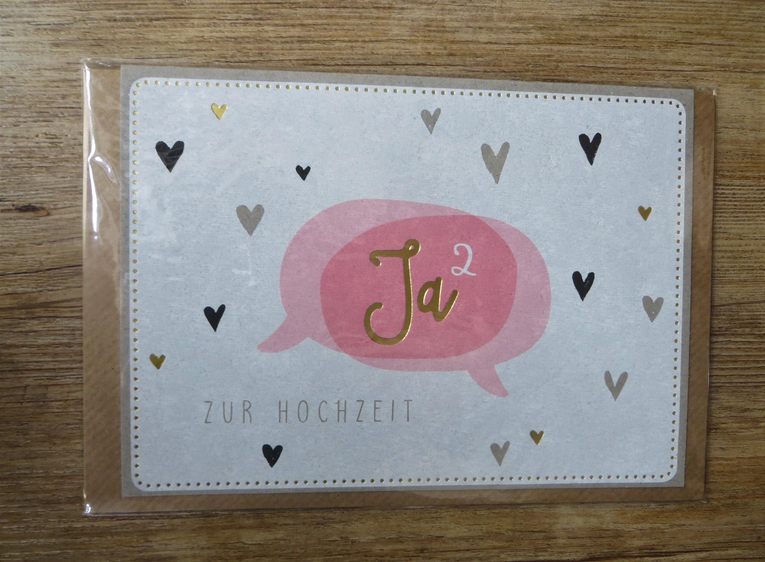 Nützlichgrusskarten - Klappkarte Umschlagkarte Zur Hochzeit Ja² KUNST und BILD - Onlineshop Tante Emmer