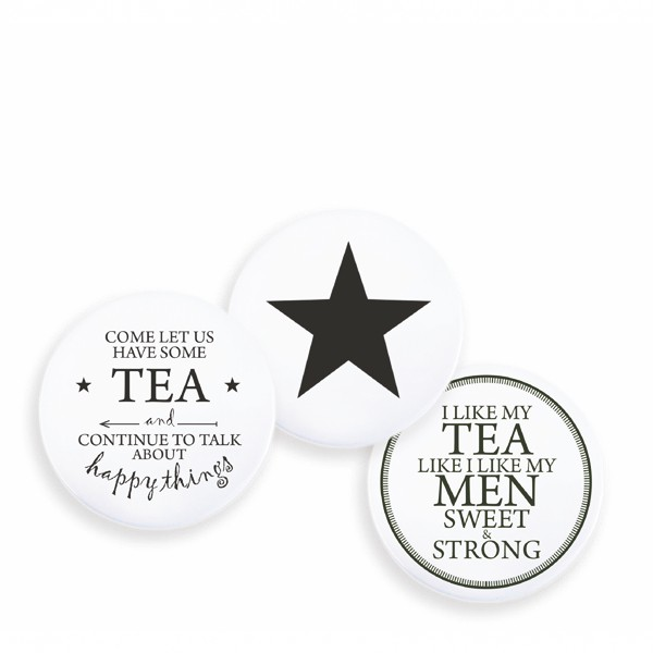 Witzigschilder - runder Magnet Come let us have some tea and continue to talk about happy thinks Tafelgut - Onlineshop Tante Emmer