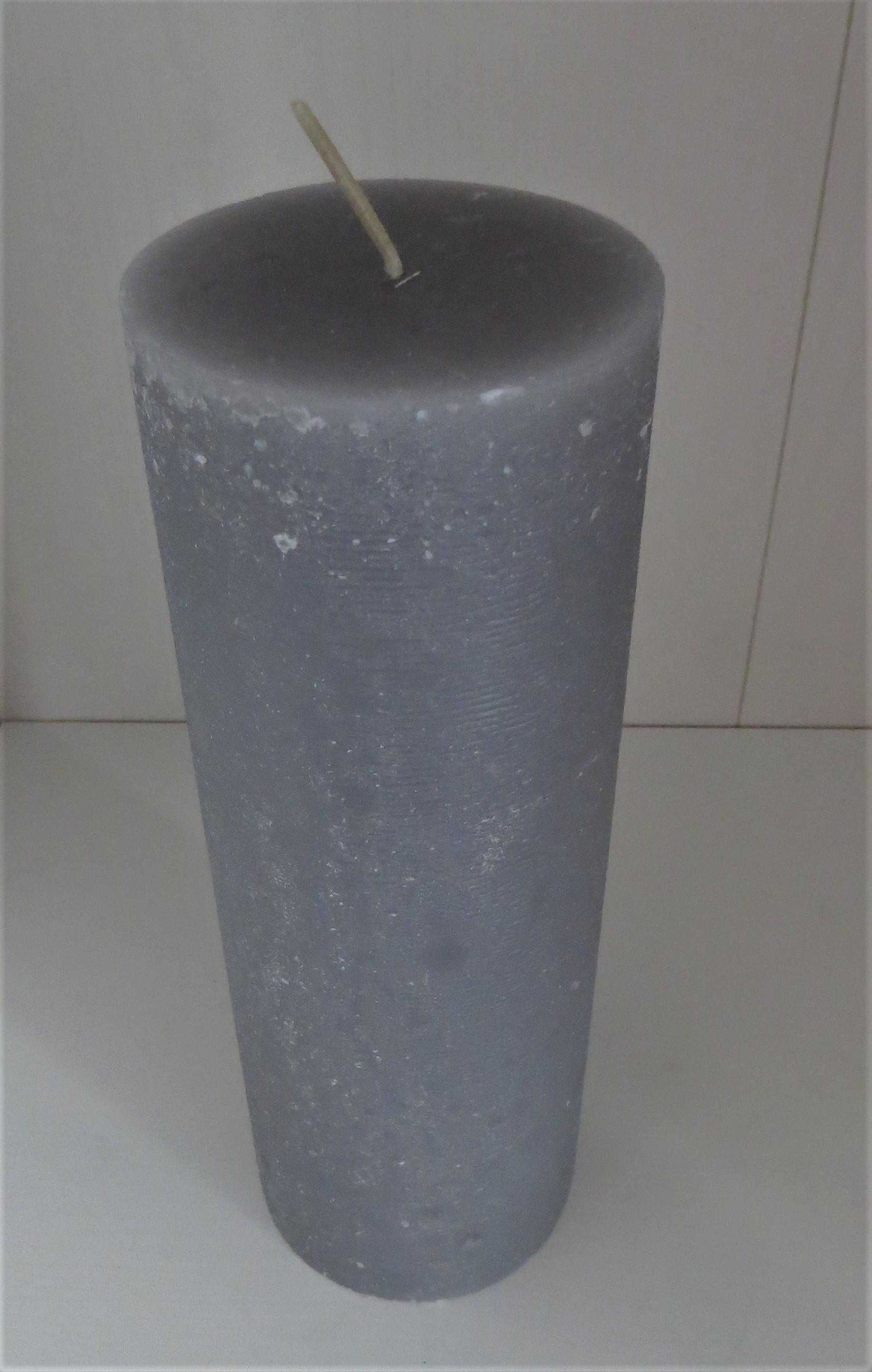 Stumpenkerze hellgrau Höhe 20 cm