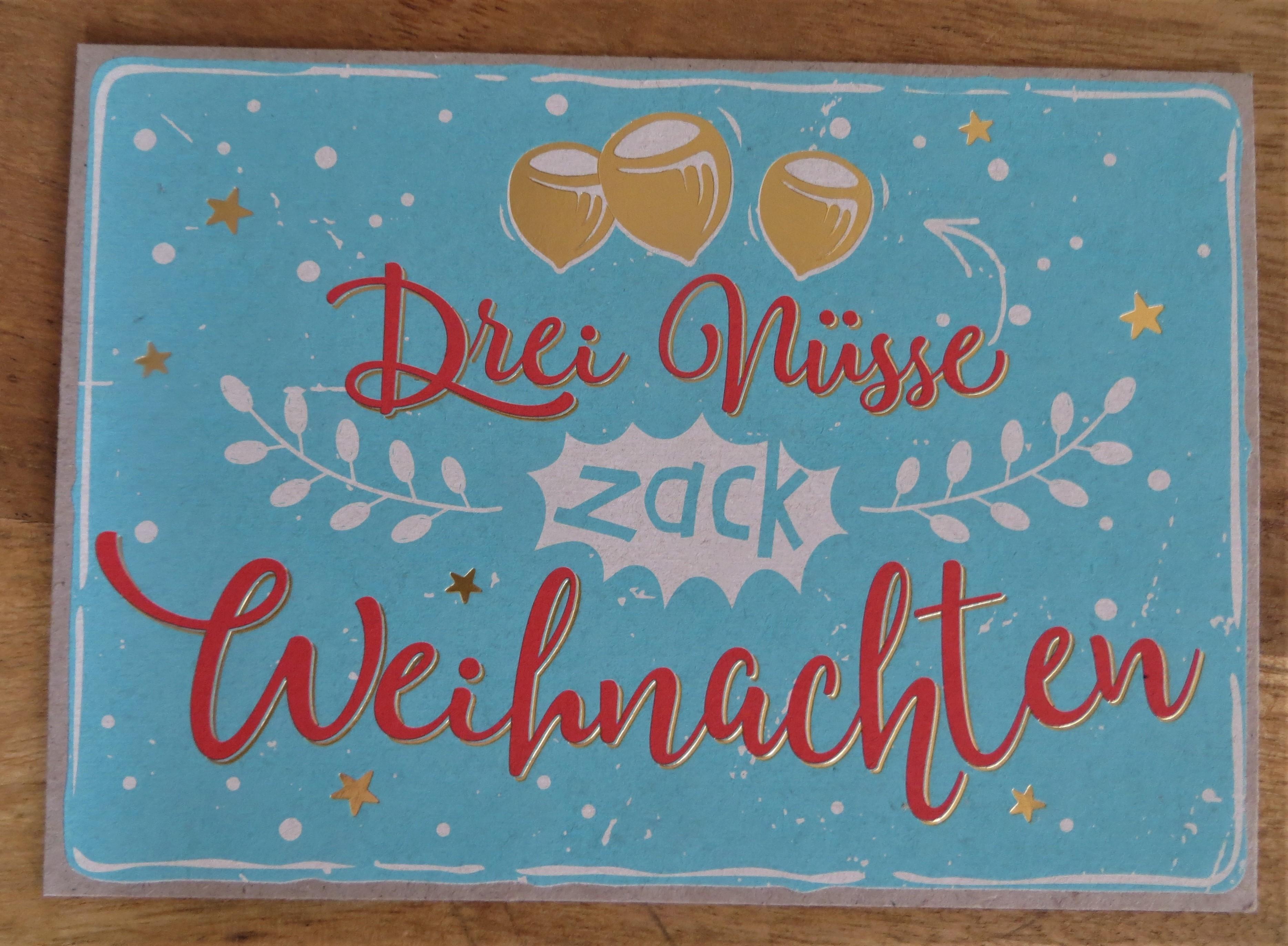 Nützlichgrusskarten - Postkarte Drei Nüsse zack Weihnachten KUNST und BILD - Onlineshop Tante Emmer