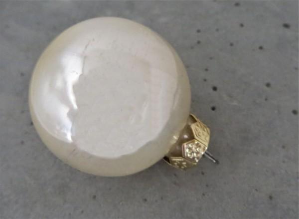 Christbaumschmuck Glaskugel creme glänzend, 6 cm