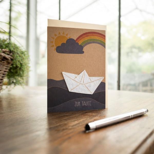 """Glückwunschkarte """"Zur Taufe"""", mit Wildblumen-Saatpapier"""