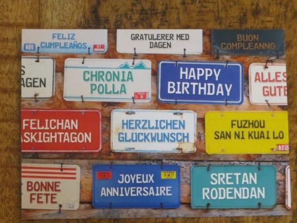 """Postkarte """"Herzlichen Glückwunsch"""" in vielen Sprachen"""