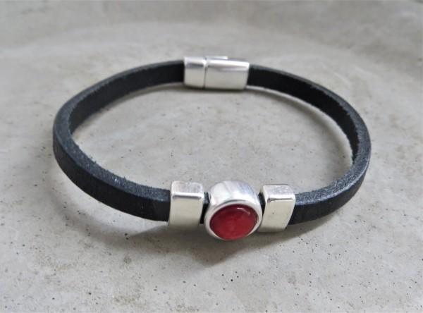 QOSS Armband CHARLOTTE Schwarz-Korallrot, M