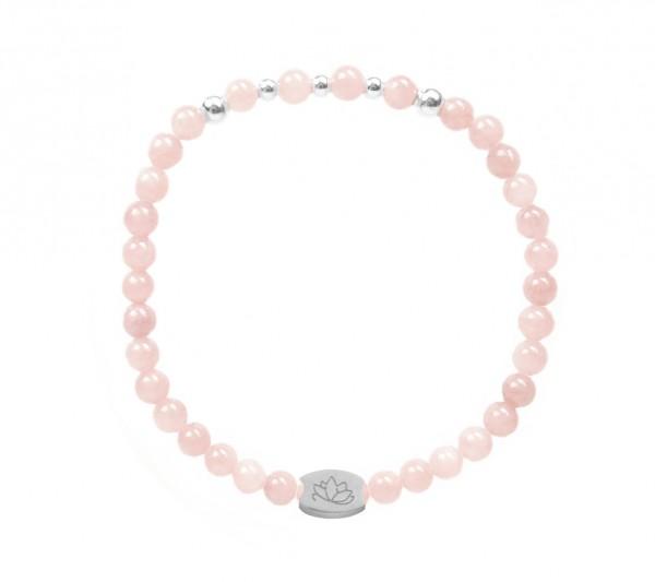 MAS jewelz Armband Rosenquartz/ Silber 4mm