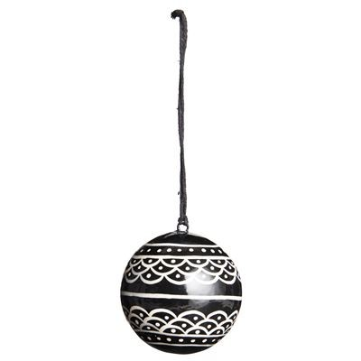 schwarze Weihnachtskugel, gewelltes Muster 5,5 cm