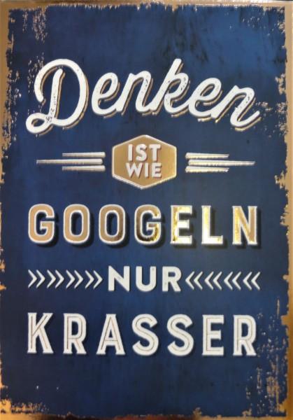 """Postkarte """"Denken ist wie googeln nur krasser"""" VintageArt"""