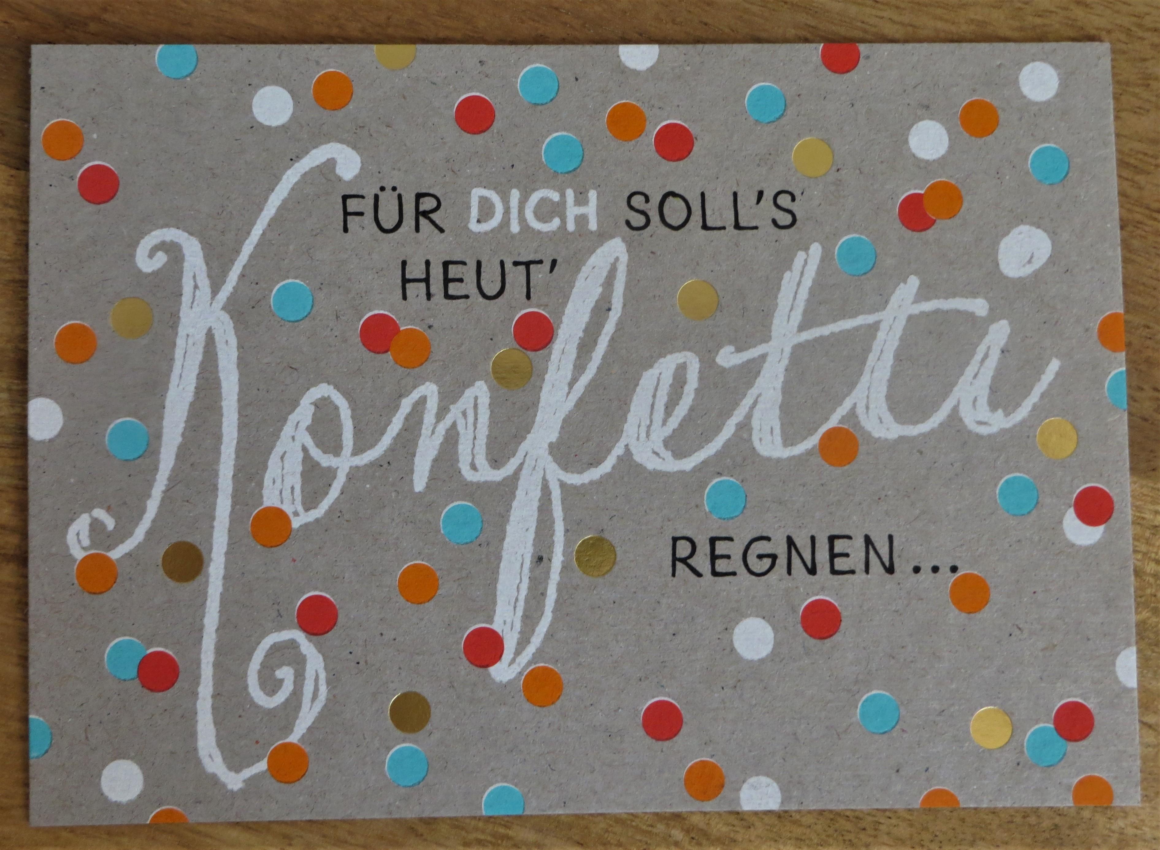 Postkarte Für DICH solls heut Konfetti Regnen... Panda KUNST und BILD