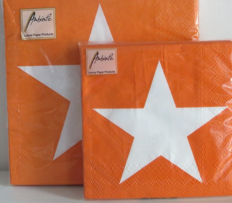 Partybedarfpartydeko - Servietten Orange mit Stern 33 x 33 cm - Onlineshop Tante Emmer