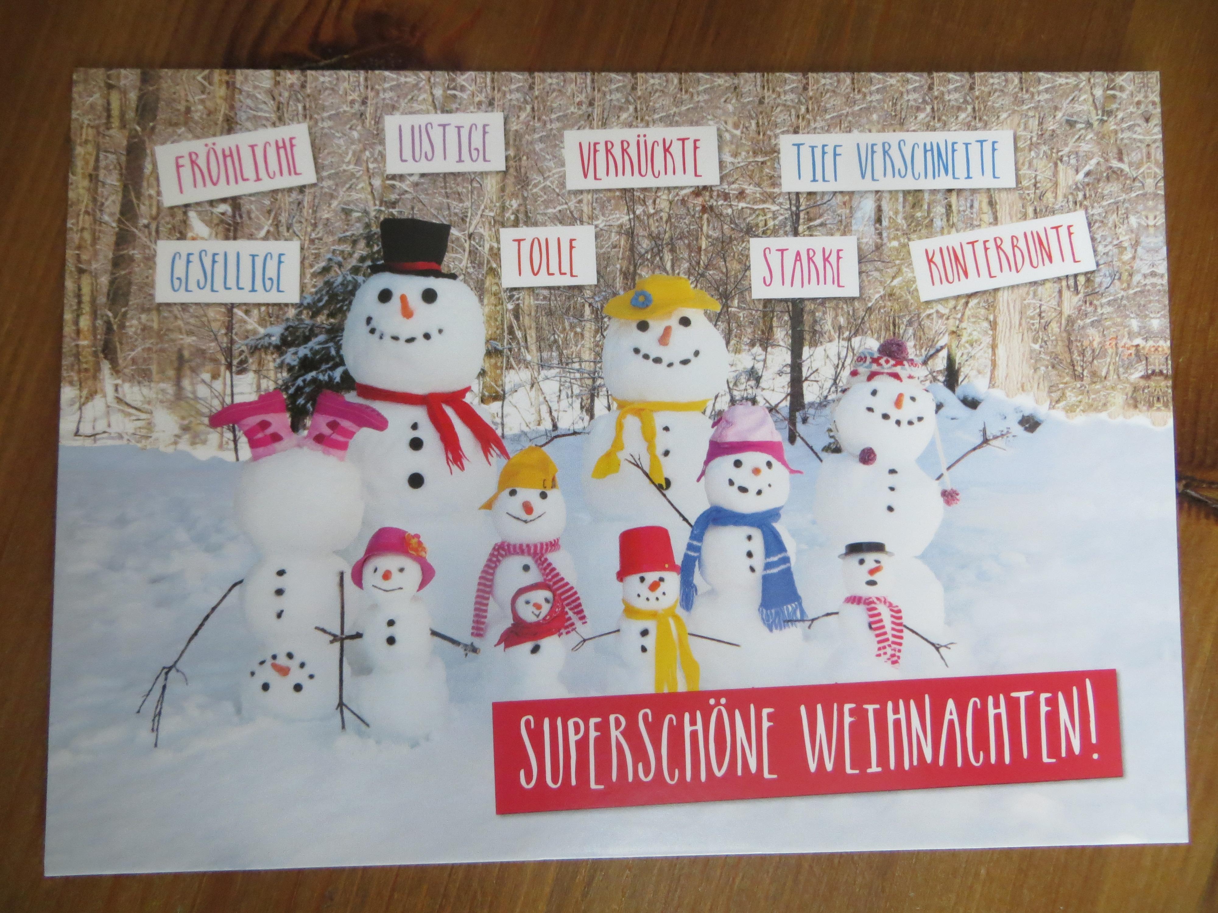 Postkarte Karte Fröhliche lustige verrückte tief verschneite....