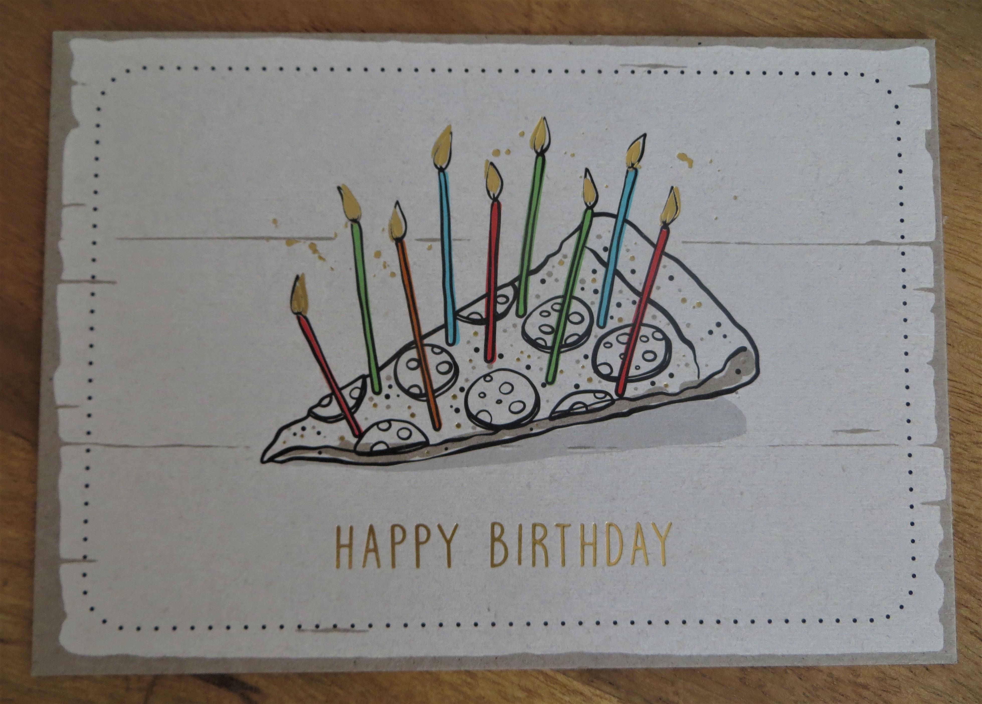 Nützlichgrusskarten - Postkarte HAPPY BIRTHDAY Pizza KUNST und BILD - Onlineshop Tante Emmer