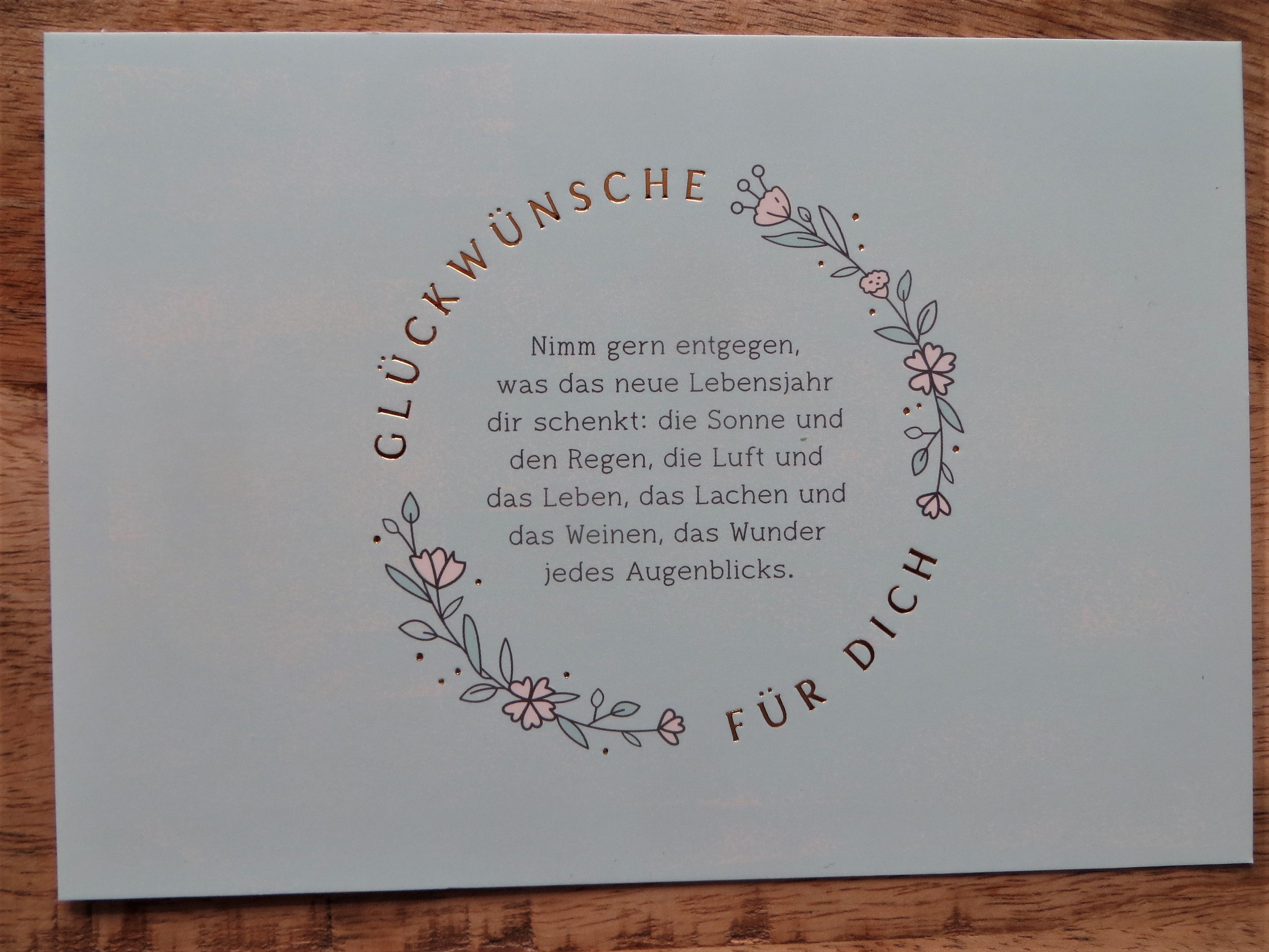 Nützlichgrusskarten - Postkarte Glückwünsche für dich Nimm gern entgegen... Vintage Art - Onlineshop Tante Emmer