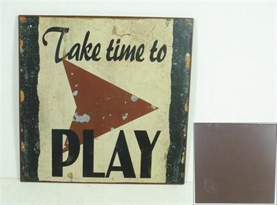 "Metall Schild ""Take time to play"""