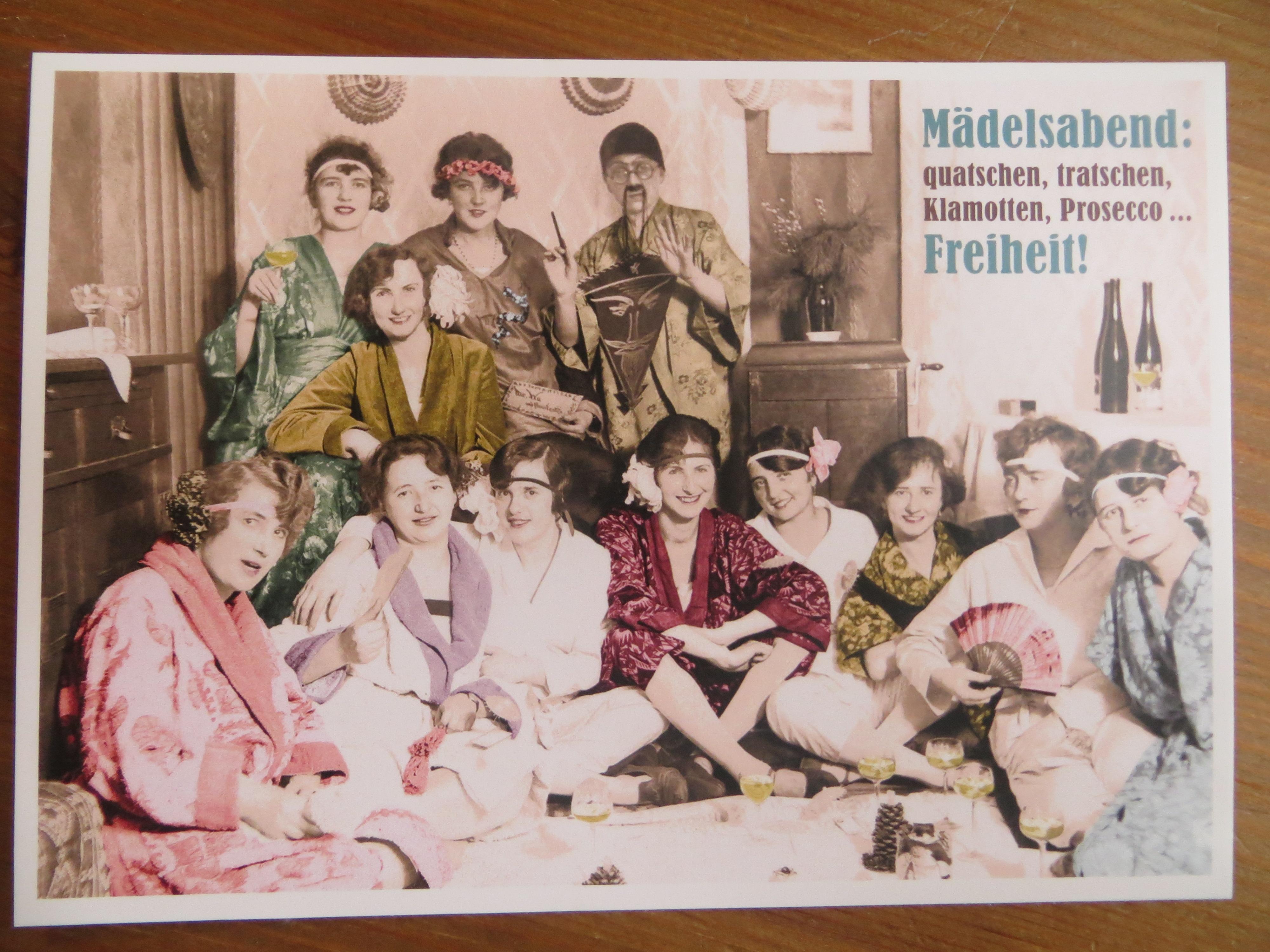 Postkarte Karte Mädelsabend quatschen tratschen Klamotten Prosecco... Freiheit Paloma