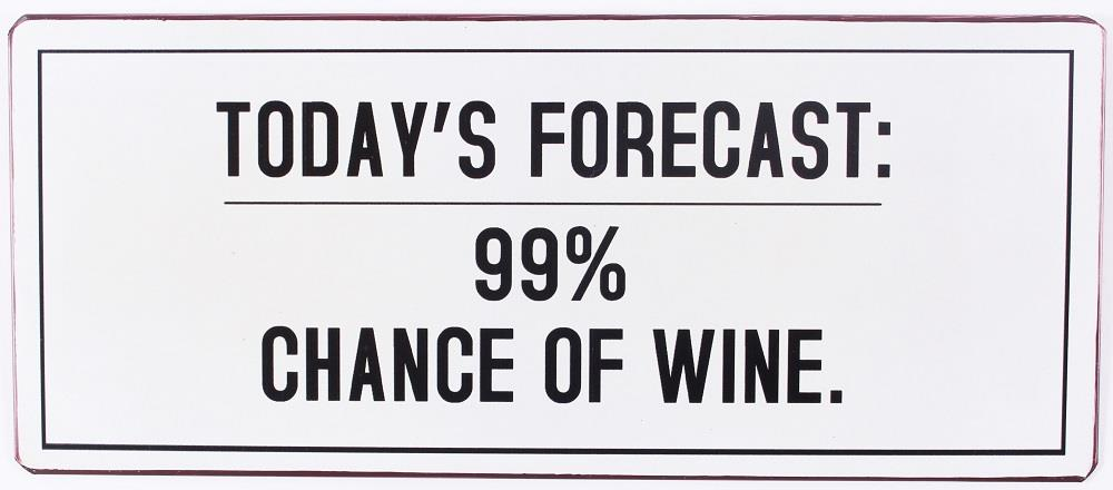 Metall Schild Todays forecast 99 chance of wine