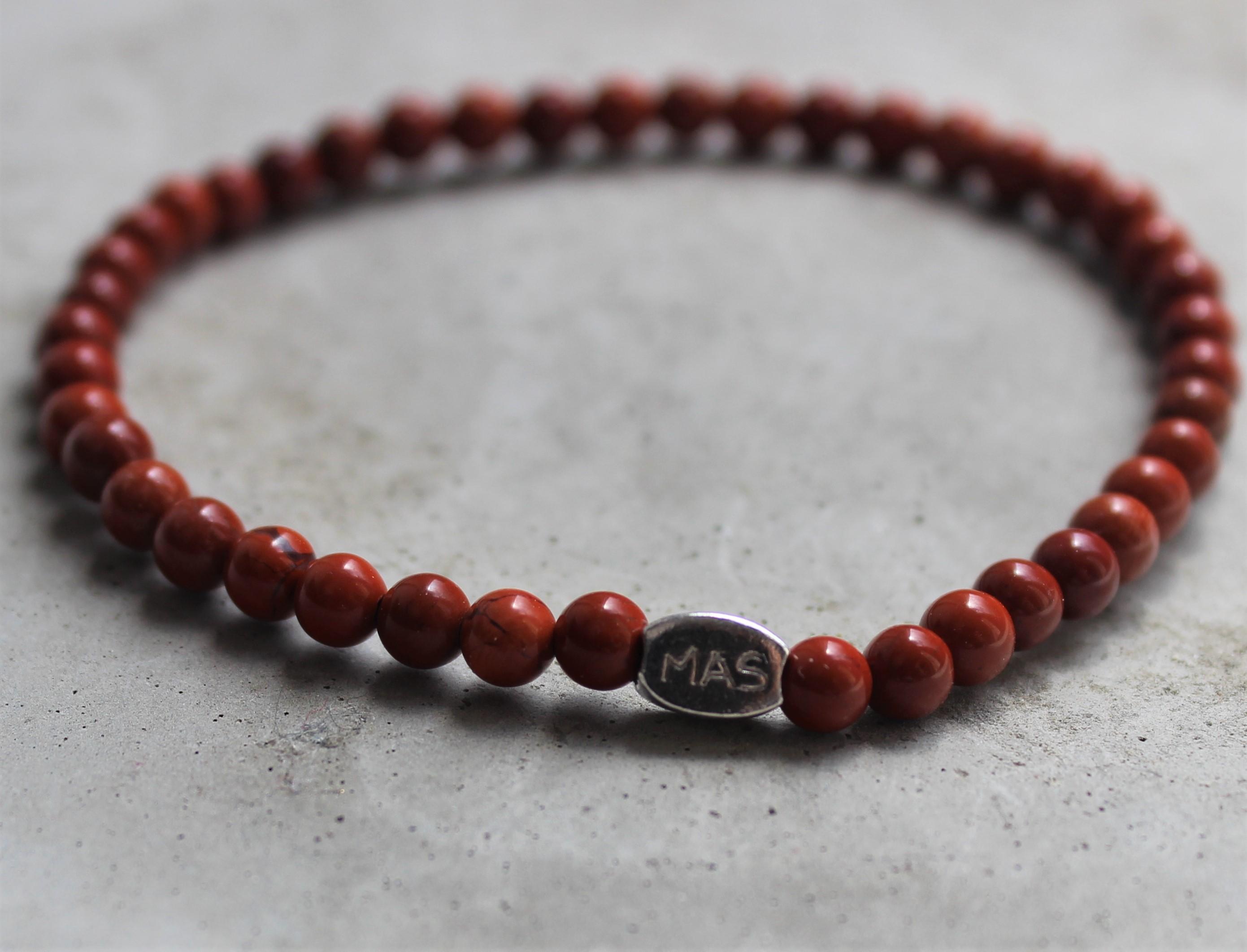 Armbaender für Frauen - MAS jewelz Armband Roter Jaspis 4mm  - Onlineshop Tante Emmer