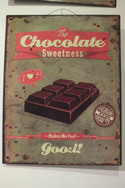 "Metall Schild ""The chocolate sweetness make me feel good"""