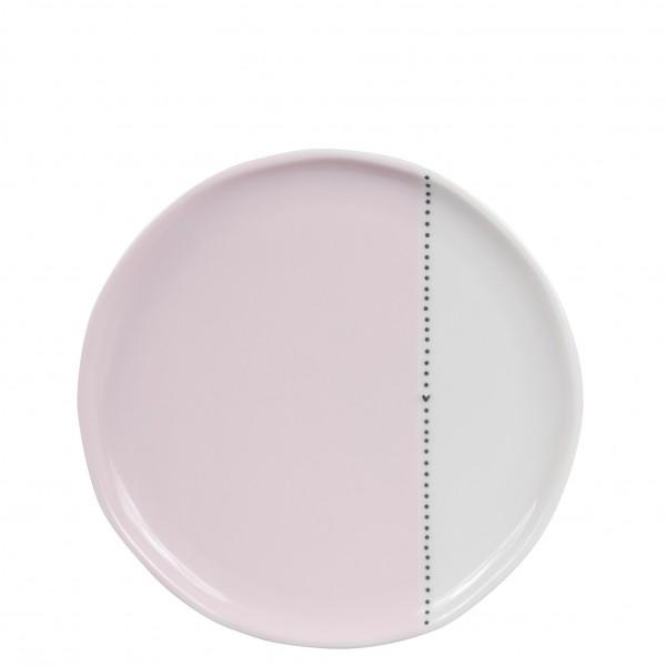 Desserplatte, Dessert-oder Kuchenteller weiß mit schwarzen Punkten und Herz Bastion Collections