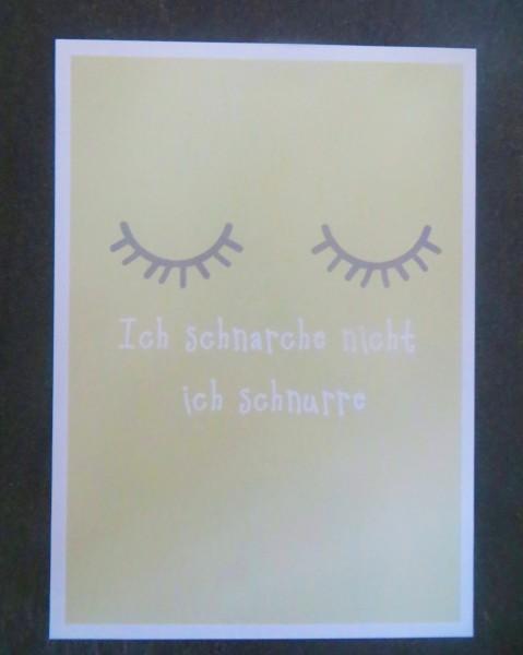 """Karte Postkarte """"Ich schnarche nicht ich schnurre"""""""