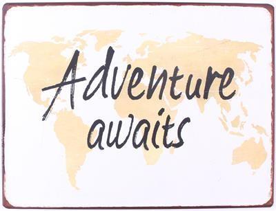 """Metall Schild """"Adventure awaits"""""""