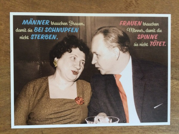 """Postkarte Karte """"Männer brauchen Frauen, damit..... Frauen brauchen Männder, damit..."""" Paloma"""