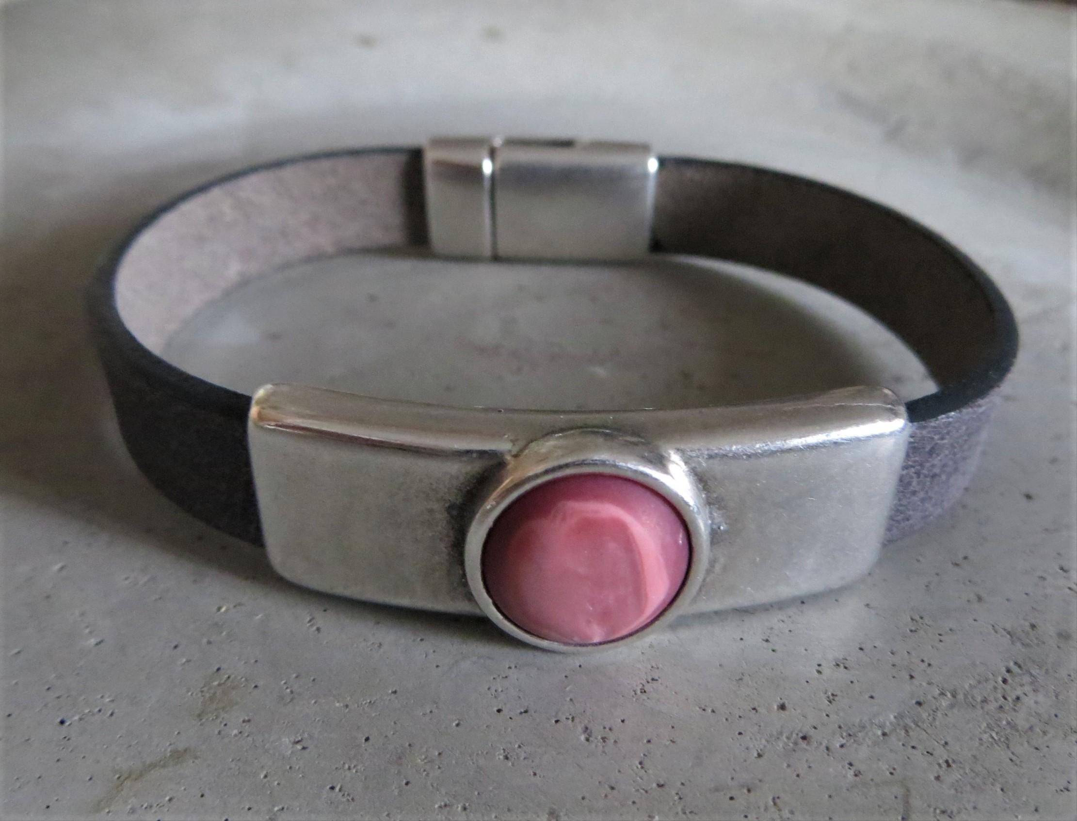 Armbaender - QOSS Armband DANI Vintage Schwarz Rosa matt XL  - Onlineshop Tante Emmer