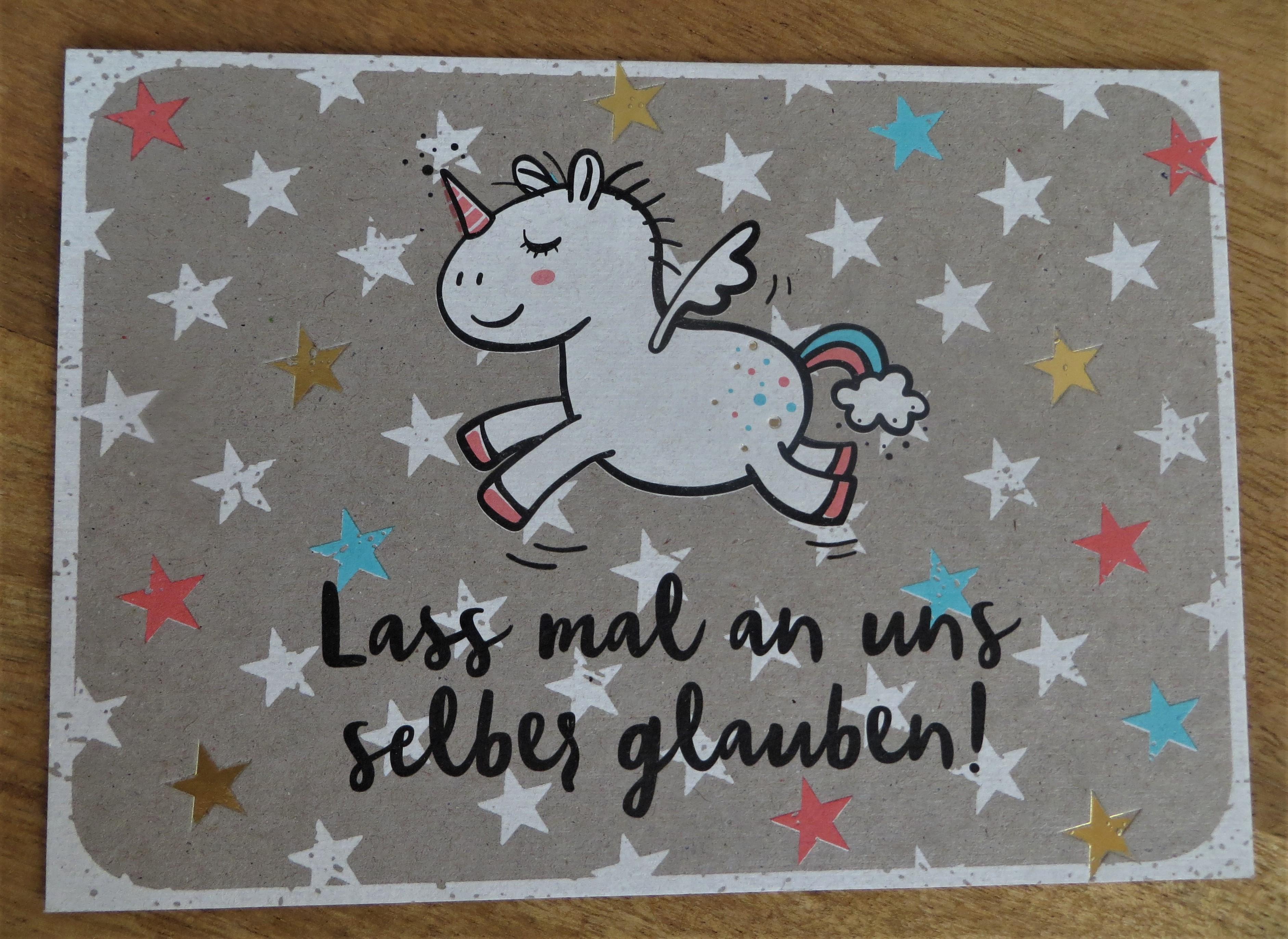 Nützlichgrusskarten - Postkarte Lass mal an uns selbst glauben KUNST und BILD - Onlineshop Tante Emmer