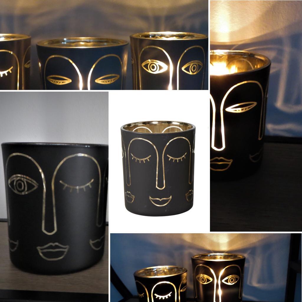 Nützlichdekoration - Glas Windlicht Gesicht Schwarz Gold 8cm Speedtsberg - Onlineshop Tante Emmer