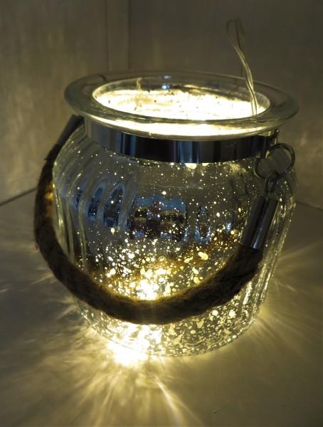 Windlicht mit Henkel aus Seil - Höhe 10,5 cm