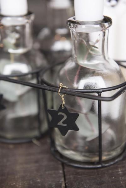 Sterne mit Zahlen 1-4 für Adventskranz oder Kerzen, schwarz