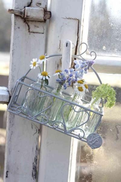 Kleines Körbchen mit vier kleinen Blumenvasen/flaschen VL Home Collection