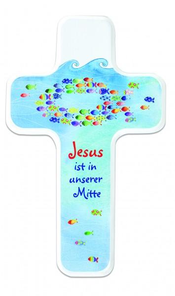 """Kinderkreuz """"Jesus ist in unserer Mitte"""" aus Holz"""