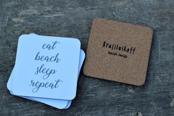 """Untersetzer aus Kork eat beach sleep repeat"""" 10,5cm, Krasilnikoff"""